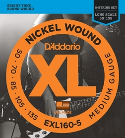 EXL 160-5 DADDARIO 50-135 set bass xl long 5str - str. git. bas.