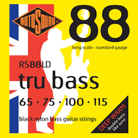 Rotosound RS88LD Tru Bass Black Nylon Flatwound Bass Guitar Strings 65-115 Long Scale