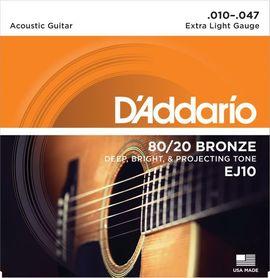 DADDARIO EJ10 80/20 Bronze Round Wound 10-47 Struny Do Gitary Akustycznej