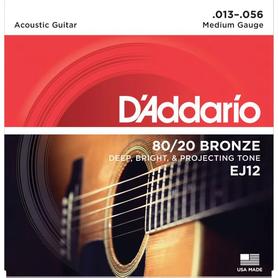 DADDARIO EJ12 80/20 Bronze Round Wound 13-56 Struny Do Gitary Akustycznej