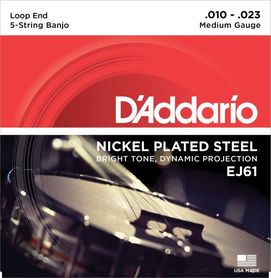 EJ61 DADDARIO SET BANJO NICKEL WND 10-23 MED LOOP END-str. banjo