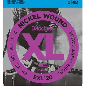 D'Addario EXL120 9 42 Nikel Wound Super Light Gauge