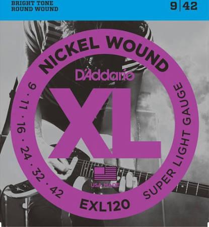D'Addario EXL120 9 42 Nikel Wound Super Light Gauge
